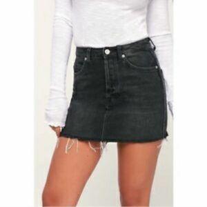 Free People Black Denim Raw Edge Mini Skirt Size 8
